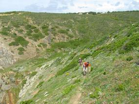 Foto: Schmaler Wanderweg an der Abbruchkante der Westküste