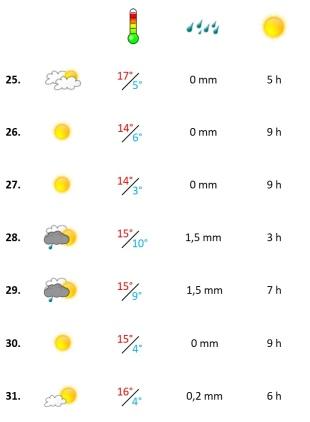 Grafik, Wetterbericht der vierten Dezemberwoche