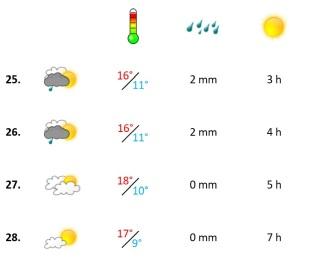 Grafik, Wetterbericht der vierten Woche Februar 2021
