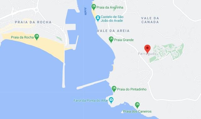 Ferragudo-Strände-Übesichtskarte