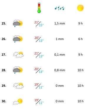 Grafik, Wetterbericht der vierten Woche April 2021
