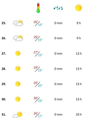Grafik, Wetterbericht der vierten Woche Juli 2021